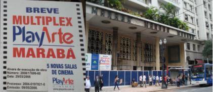 Fachada do Cine Marabá em reforma