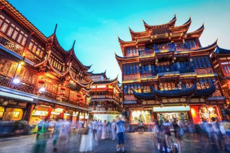 área comercial de Xangai, na China