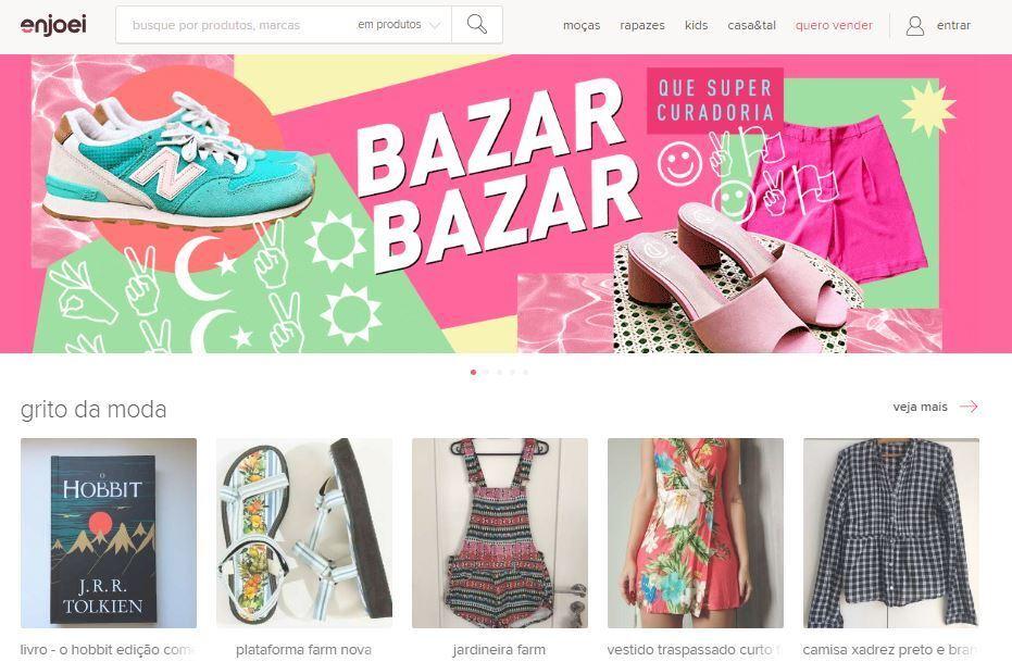 fe7fe183efe Crédito  reprodução   site EnjoeiEnjoei vende peças novas e usadas de  grandes marcas com preço amigo