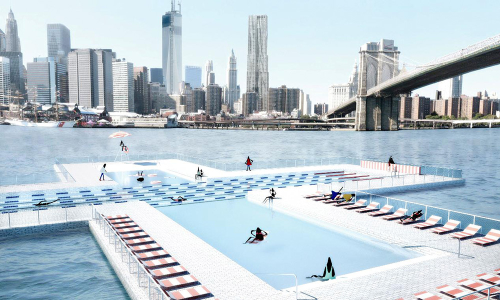 Nova york ter piscina flutuante que filtra gua for Piscina que pierde agua