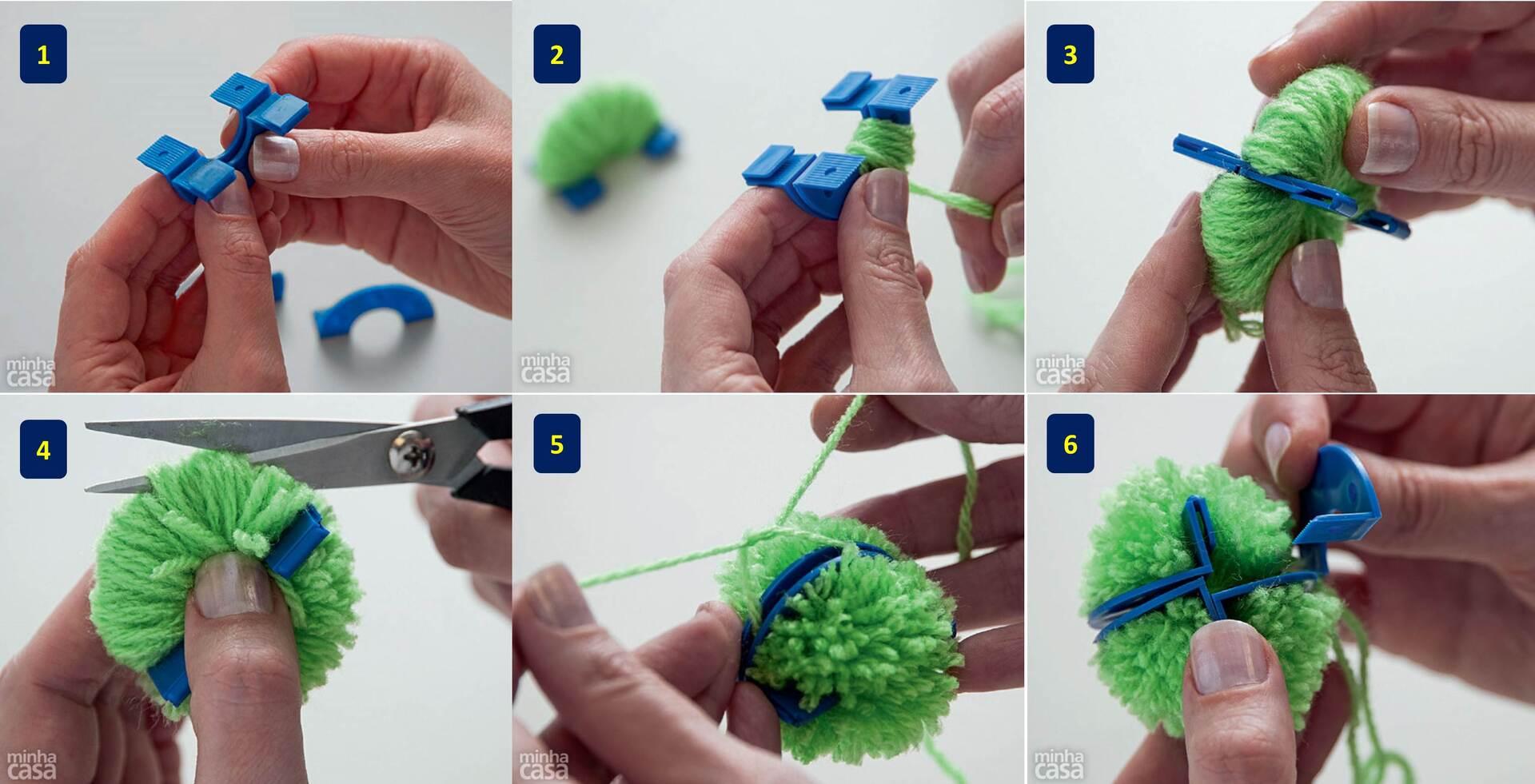 64263341e76df 1) O Pompom Fácil é feito de plástico e auxilia a fazer vários pompons de  4cm de forma mais rápida e prática que o jeito convencional (com círculos  de ...