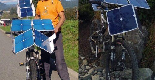 Ciclista cria bicicleta movida a energia solar
