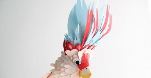 Colombiana cria pássaros feitos de papel