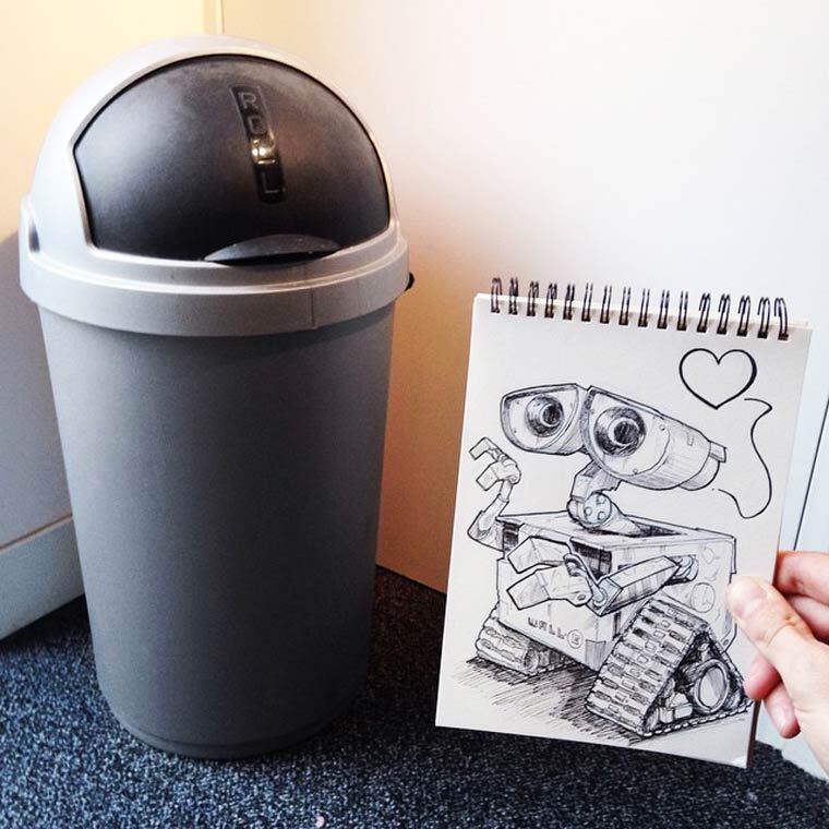 Novas ilustrações de Troqman brincam com as objetos do dia a dia