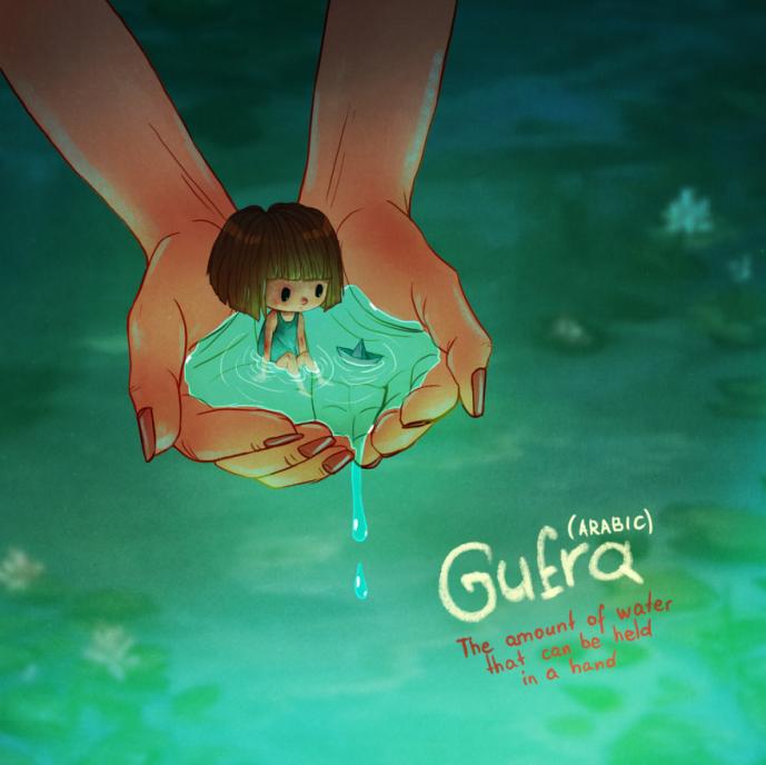 Gufra, do Árabe: Quantidade de água que você pode segurar nas mãos.