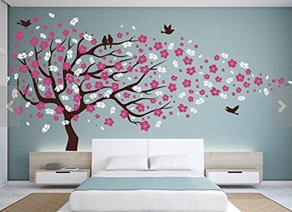 ideias para levar arte e criatividade para sua casa com cherry blossom branches with birds vinyl wall sticker