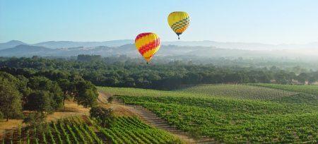 Balões sobrevoando Napa Valley | foto: weinspireme.com