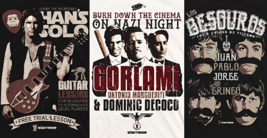 Personagens de Tarantino, Star Wars, estrelas do rock e muitos outros, estampados em situações fora do comum