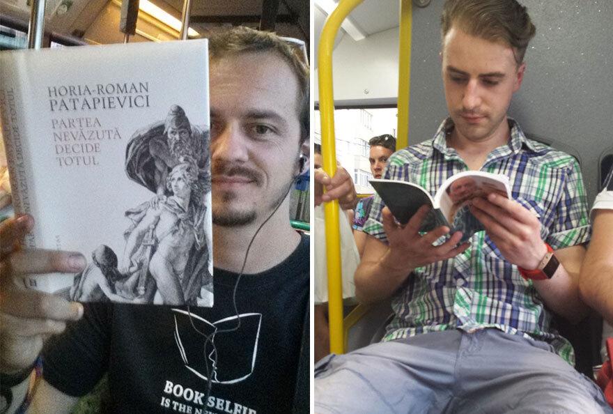Passageiros leem dentro do ônibus