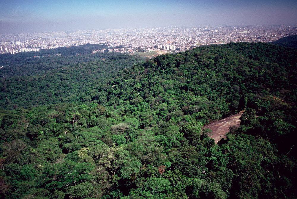 Parque Estadual da Cantareira - Núcleo Pedra Grande - No Núcleo Pedra Grande do Parque Estadual da Cantareira está um dos mais surpreendentes mirantes da cidade. Trata-se de uma formação rochosa de granito de onde se tem uma visão panorâmica da metrópole paulista. Observar a imponente São Paulo a partir de uma das maiores áreas de reserva florestal do mundo situada em área urbana – o Parque Estadual da Cantareira – é uma experi- ência única.