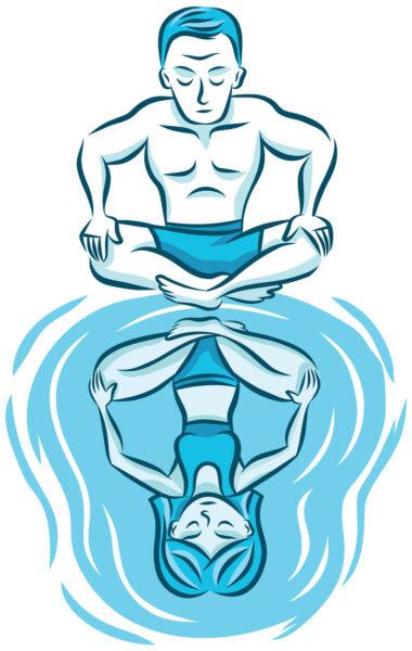 desenho de um homem olhando para seu reflexo feminino na água