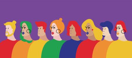 grupo de pessoas desenhadas representando a diversidade de gênero e sexual
