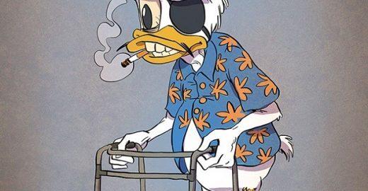 Artista envelhece personagens como Mickey, Tom, Jerry e Donald