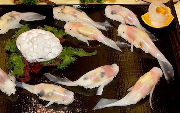 Os cozinheiros utilizam os mesmos ingredientes encontrados em um sushi convencional