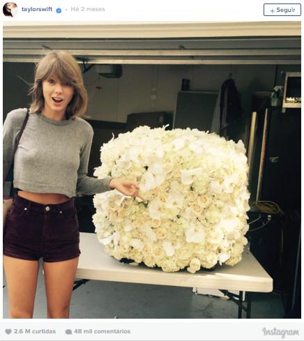 2º lugar: Taylor Swift, mais de 2,6 milhões de curtidas