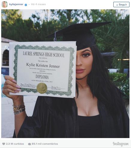 4º lugar: Kylie Jenner, mais de 2,3 milhões de curtidas