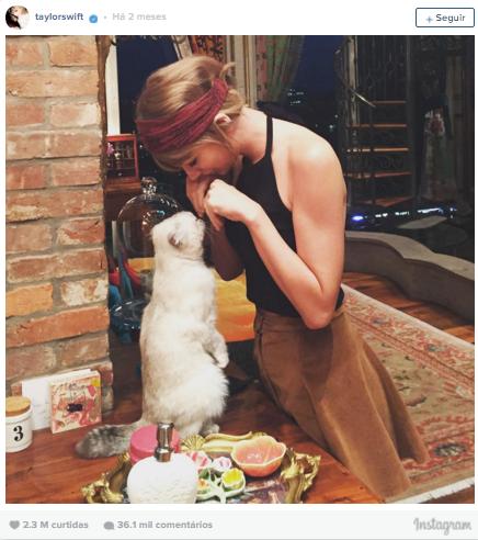 6º lugar: Taylor Swift, mais de 2,3 milhões de curtidas