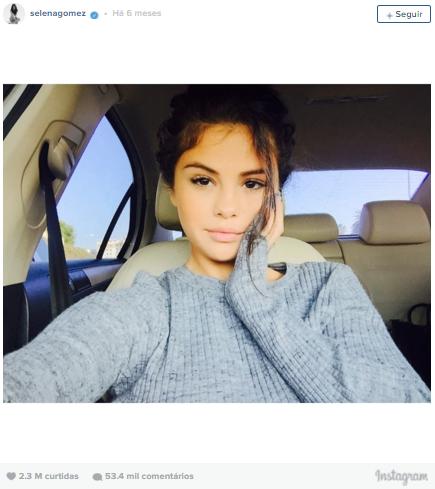 7º lugar: Selena Gomez, mais de 2,3 milhões de curtidas