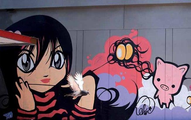 LIBERDADE | No tradicional bairro oriental também é possível encontrar uma infinidade de desenhos. O mais interessante é perceber que grande parte deles segue uma linha menor e mais delicada, podendo encontrar, inclusive, alguns painéis inspirados em mangás e coisas que remetem a temática japonesa. A dica é passear pelos arredores das ruas Galvão Bueno e Glória | Graffiti de Whip (Foto: divulgação)