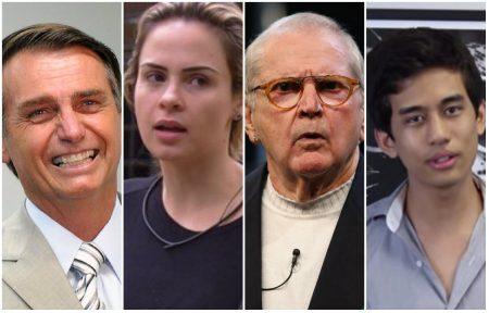 Da dir. p/ esq.: Jair Bolsonaro (deputado estadual), Ana Paula (BBB), Jô Soares (apresentador) e Kim Kataguiri (Folha de S. Paulo e MBL)