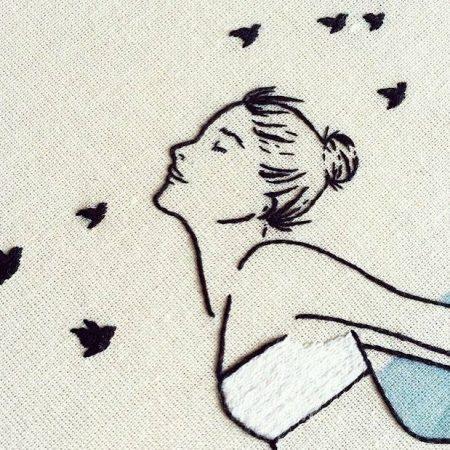 Detalhe do bordado feito pelas meninas do Clube do Bordado