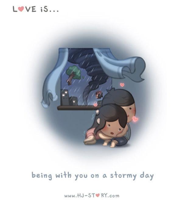 Amar é.. ficar com você em um dia de tempestada