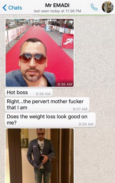 A apresentadora compartilhou fotos que supostamente seu chefe lhe enviava