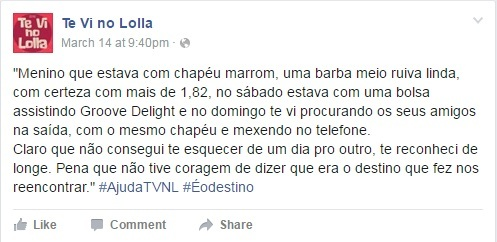 'Te vi no Lolla': encontre pelo Facebook o seu crush perdido no festival