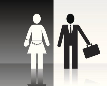 ilustração preta e branca mostrando como funciona o machismo o homem bem sucedido e a mulher como a dona do lar
