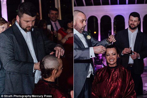 Joan Lyons raspou a cabeça no dia de seu casamento para homenagear noivo com câncer terminal