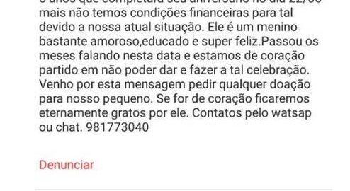 Sem dinheiro para festa do filho, mãe pede ajuda em anúncio