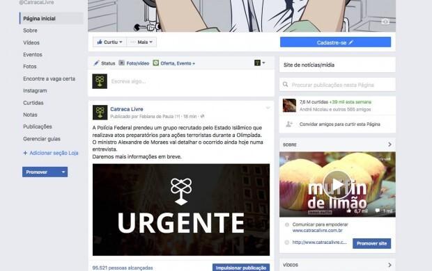 Novo layout de páginas do Facebook