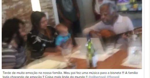 Gilberto Gil canta canção para bisneta e emociona sua família