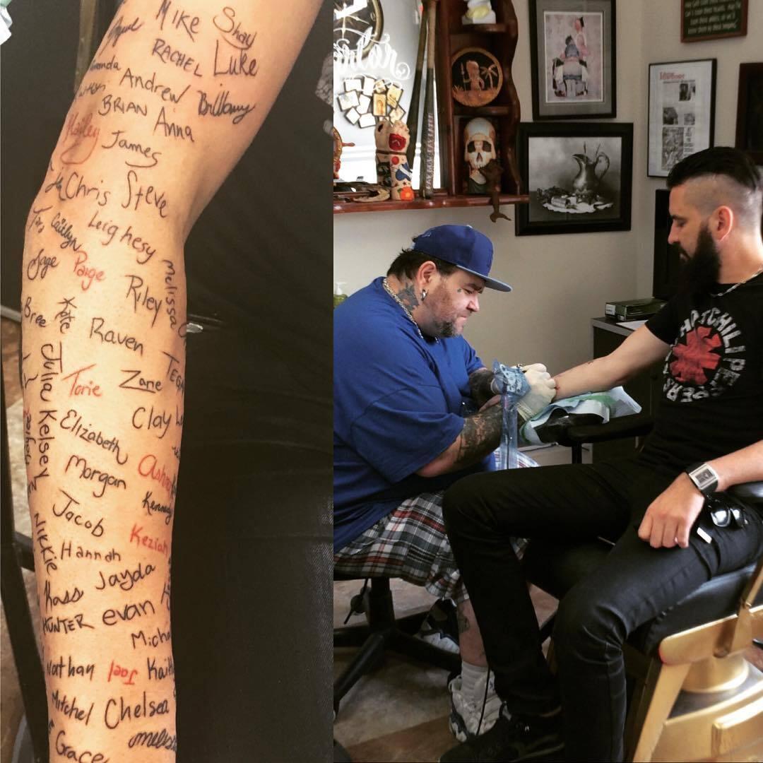 Robb Nash tatuou 120 nomes no seu braço
