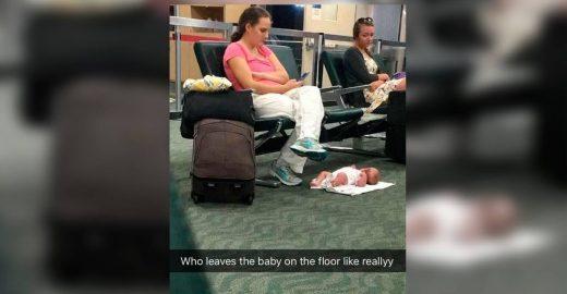 Mãe deixa bebê no chão e imagem causa polêmica