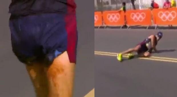 Favorito da Marcha Atlética, francês Yohann Diniz teve problemas intestinais e passou mal durante  prova.