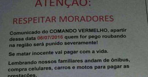 Comando Vermelho proíbe assaltos em comunidades de São Gonçalo