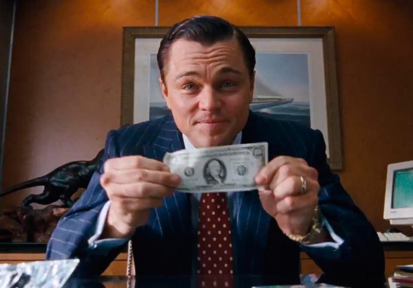 """Foto promocional do filme """"o lobo de wall street""""que está na lista de filmes da netflix pra quem se interessa por marketing"""