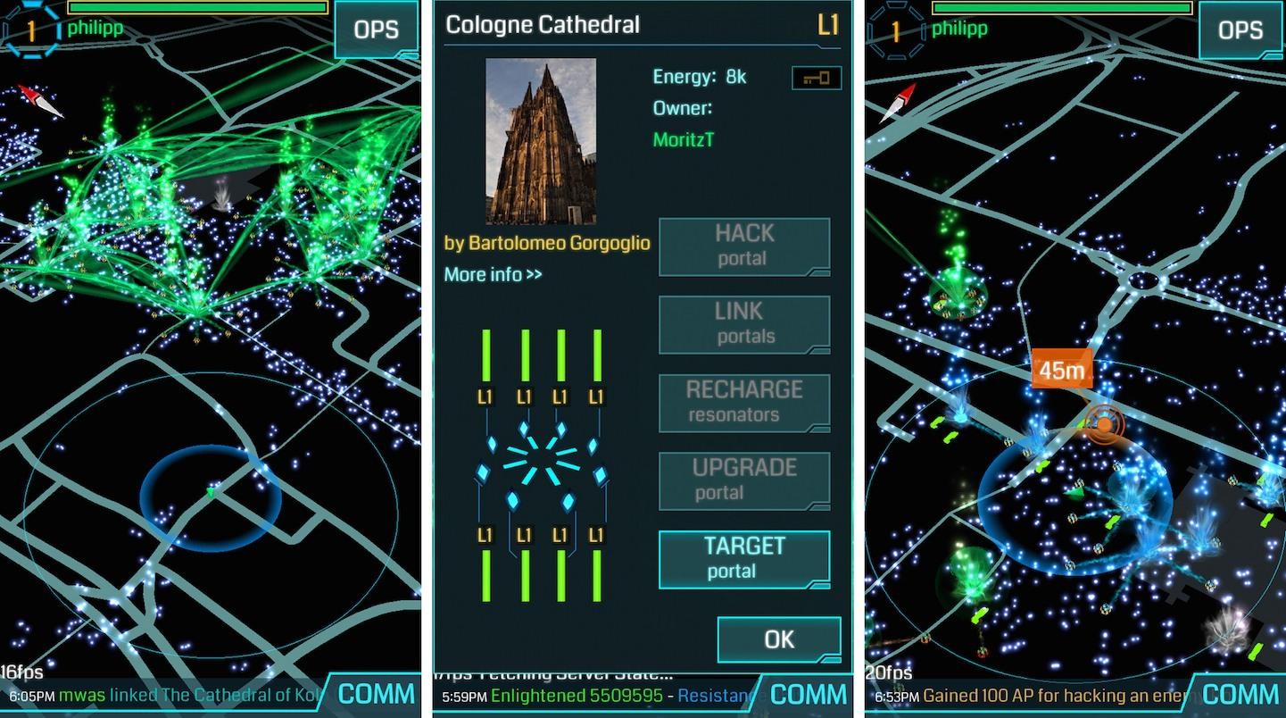 Imagem do Ingress, jogo anterior que serviu de banco de dados para Pokémon Go