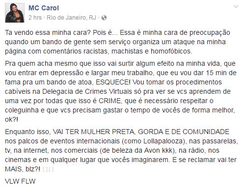 MC Carol denuncia preconceito na internet