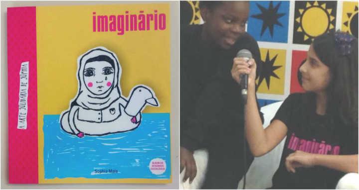 O livro traz ilustrações com o tema dos refugiados