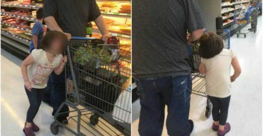 Homem prende cabelo de menina ao carrinho e a puxa pelo mercado