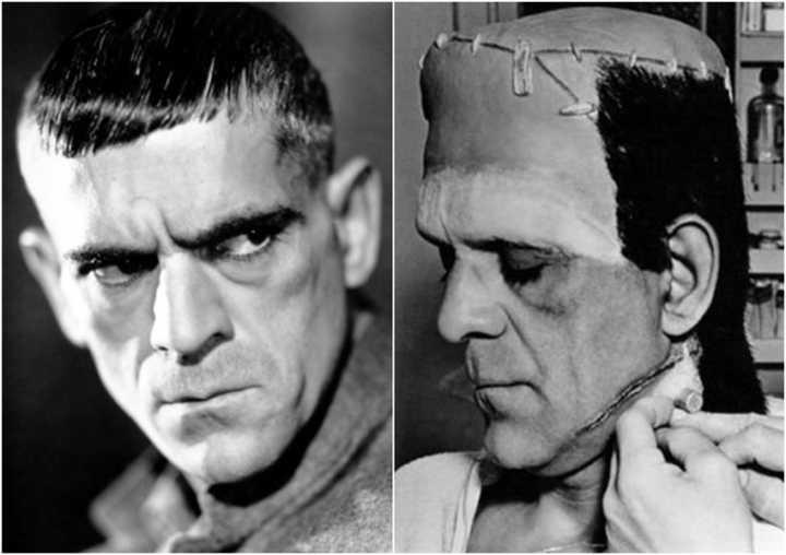 """O ator Boris Karloff, de """"Frankenstein"""" (1931), antes e depois da caracterização do personagem"""