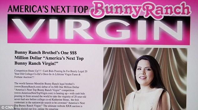 Anúncio do bordel para a venda da virgindade de Katherine