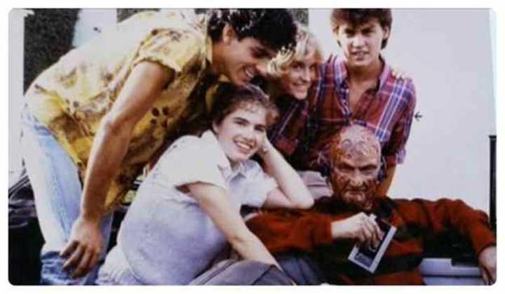 """Imagem feita no set de filmagem de """"A Hora do Pesadelo"""" (1984)"""