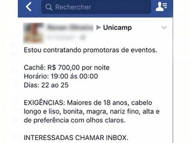 O anúncio de vaga foi postado no Facebook e apagado