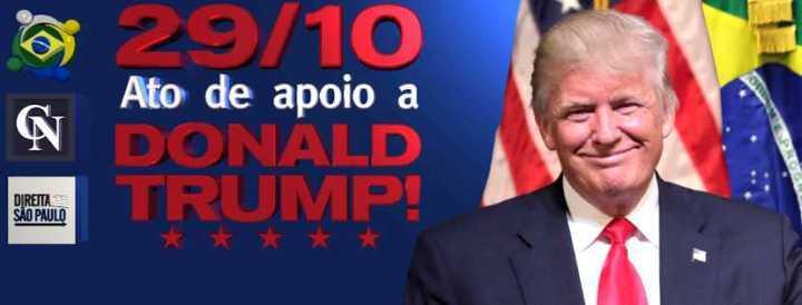 O ato a favor de Trump acontece no dia 29 de outubro na Avenida Paulista