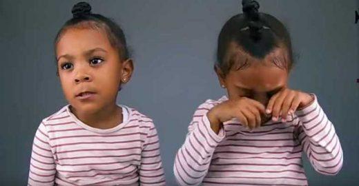 Menina fica inconsolável ao saber que é mais nova que irmã gêmea