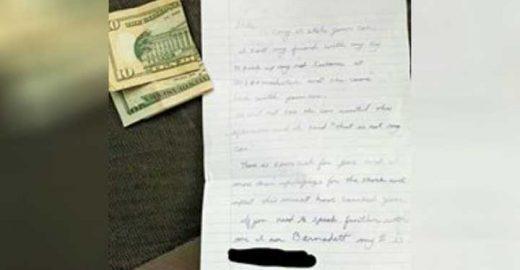 Mulher tem carro roubado e devolvido com bilhete surpreendente