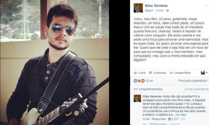 Detalhe da postagem que a mãe do Hideo fez no facebook